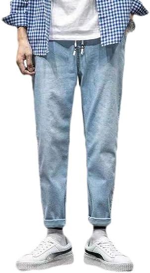 GUOCAI Men Wide Leg Pants Winter Fleece Lined Jean Retro Denim Jeans Pants