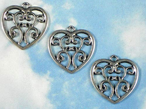 10 Fancy Heart Charms Antiqued Silver Finish 20mm Pendants Vintage Crafting Pendant Jewelry Making Supplies - DIY for Necklace Bracelet Accessories by CharmingSS