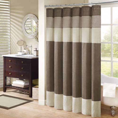 JLA Home INC Amherst Striped Fabric Brown Shower Curtain, Pieced Transitional Simple Shower Curtains for Bathroom, 72 X 96, Natural