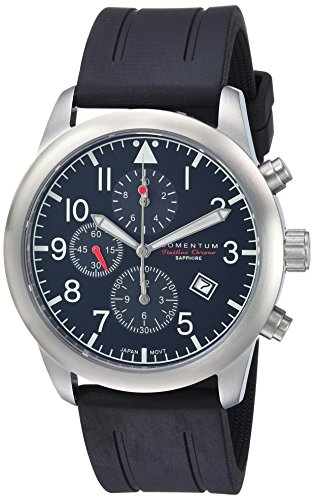 Momentum Men's 'Chronograph Collection' Quartz Stainless Steel and Rubber Casual Watch, Color:Black (Model: 1M-SN34BS1B)