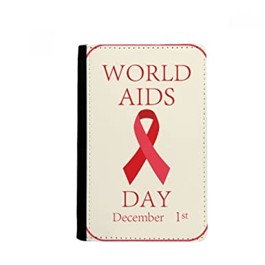 AIDS Day 1st December Red Ribbon HIV Symbol Passpord Holder Travel Wallet  Cover Case Card Purse