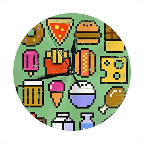 LALACO-Design 8 Bit Foodie V2 Distressed Round Wall Clock for Home,Office,School Decorative 9.8 Inch Battery Operated ()