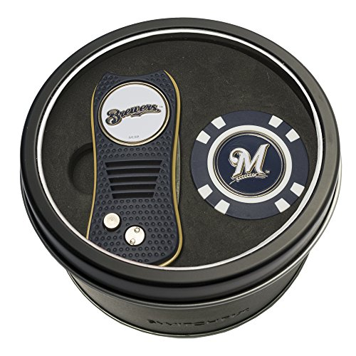 - Team Golf MLB Milwaukee Brewers Gift Set Switchblade Divot Tool & Chip, Includes 2 Double-Sided Enamel Ball Markers, Patented Design, Less Damage to Greens, Switchblade Mechanism