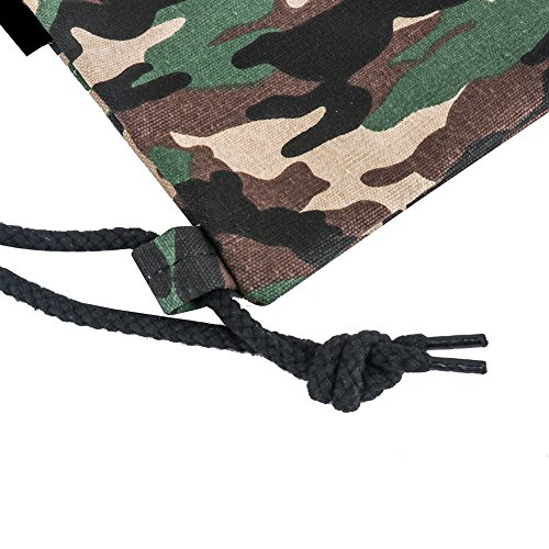 Peicees Canvas Drawstring Backpack with Zipper Pocket Gymsack Drawstring Bag Sport Sackpack Travel School Backpack for Men Women Boys and Girls(Camo) by Peicees (Image #4)