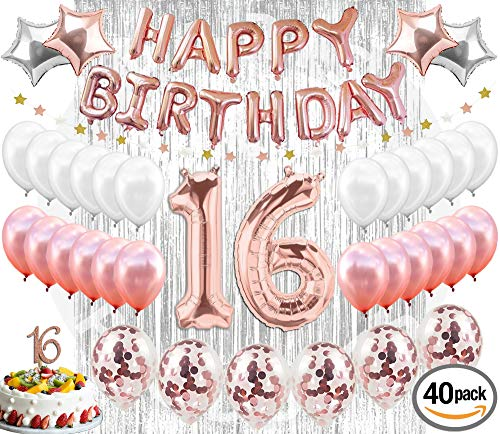 16th Birthday Decorations Party Supplies Sweet 16 Birthday Balloons| Rose Gold Confetti Balloons|16 Cake Topper Rose Gold| Metallic Silver Curtain for Photo Booth and Props| Sweet Sixteen Decorations by Paris Products Co.