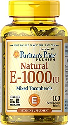 Puritan's Pride Vitamin E-1000 IU Mixed Tocopherols Natural-100 Softgels