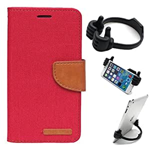 Aart Fancy Wallet Dairy Jeans Flip Case Cover for MotorolaMotoE (Red) + Flexible Portable Mount Cradle Thumb OK Designed Stand Holder By Aart Store.