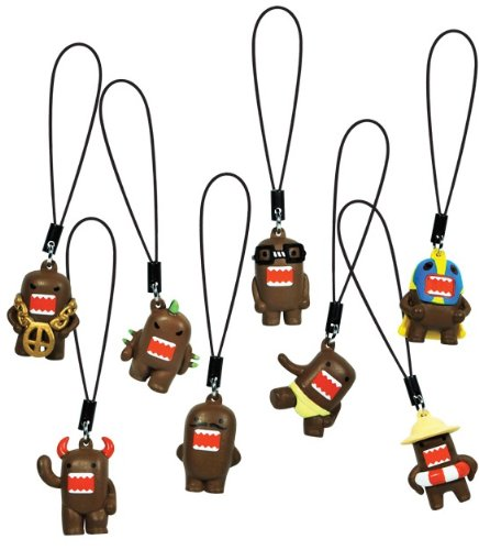 Domo Kun Charm Danglers - Complete Set of 8 Domos - All Keychain Figures Can Attach to Cell Phones, Backpacks, Purse, Keys, Charms, Zipper ()