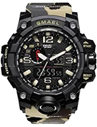 men's sports watch outdoor waterproof watch double electronic quartz movement backlit army (Camouflage/Beige)
