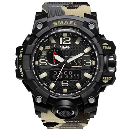 SMAEL men's sports watch outdoor waterproof watch double electronic quartz movement backlit army - Military Mall Hours