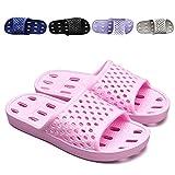 XUANHSU Bathroom Shower Shoes for Women Indoor Slippers Non Slip Sandals Swimming Beach Water Shoe (US 7-7.5 Women, Pink)
