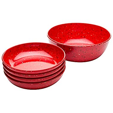 Zak! Designs Confetti Pasta Serving and Individual Bowls (5-Piece Set), BPA-free Melamine, Red