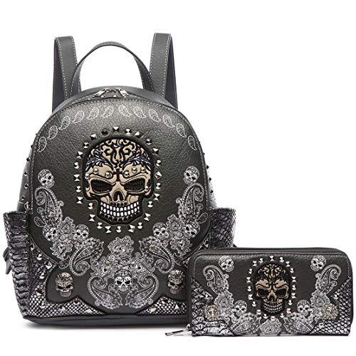 Sugar Skull Punk Art Rivet Stud Biker Purse Women Fashion Backpack Python Daypack Shoulder Bag Wallet Set (#2 Gray Set)