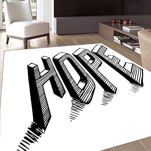 Rug,Floor Mat Rug,Hope,Area Rug,Sketch Letters with Stripes Spelling Hope Hand Drawn Calligraphic Arrangement,Home mat,5