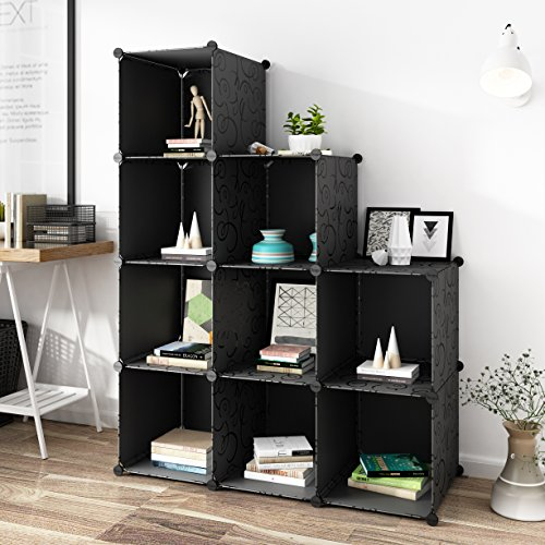 Tespo Multi Use DIY Plastic Organizer, Modular Storage, Freestanding Cabinet, 4 tier Shelving Bookcase, 9 cubes for Toy, household.