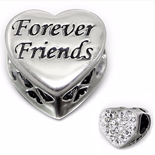 Silvadore - Silver Bead - ''Forever Friends'' Engraved Heart Plaque Mini...