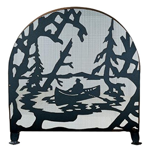 Meyda Tiffany 28741 Canoe at Lake Arched Fireplace Screen, 30″ Width x 30″ Height