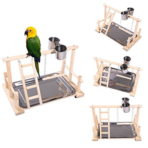 Bird Play Gym (QBLEEV Bird's Nest Stand Playground Climb Wooden Perches (bird stand(14.4