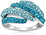 Sterling Silver Turquoise Colored with Swarovski Elements Ring, Size 7