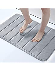 Memory Foam Bath Mat Large Size 32 by 20 Inches, Maximum Absorbent, Soft, Comfortable, Non-Slip, Thick, Machine Wash, Easier to Dry for Bathroom Floor Rug (Gray)