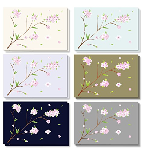 120-Pack - All Occasion Assorted Blank Vintage Note Cards Greeting Cards Bulk Box Set - 6 Different Japanese Cherry Blossom Designs, Envelopes Included - 4 x 6 -