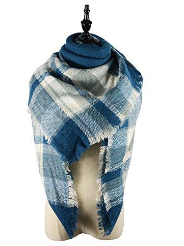 Zando Large Blanket Scarf Cozy Cape Fashion Winter Wrap Shawl Warm Fall Plaid Scarves Thick Scarfs Big Scarf for Women Jean Blue Blanket Scarf