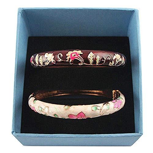 UJOY Designer Womens Elegant Bangle Cloisonne Bracelets Gold Flower Enameled Jewelry for Birthday Gift 55A85-B20 WineRed-White