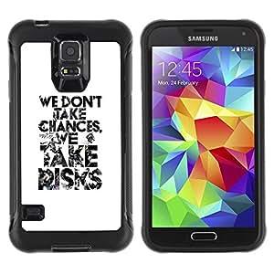 Paccase / Suave TPU GEL Caso Carcasa de Protección Funda para - text black white take risks inspiring - Samsung Galaxy S5 SM-G900
