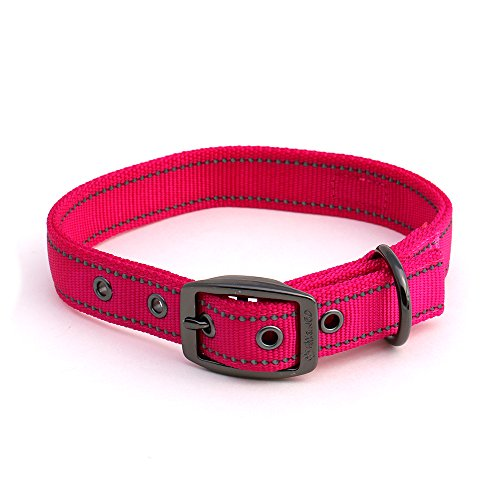 Max and Neo MAX Reflective Metal Buckle Dog Collar - We Donate a Collar to a Dog Rescue for Every Collar Sold (Medium, Pink)