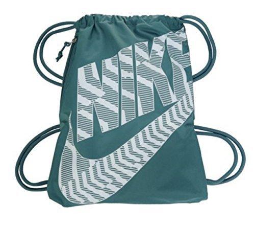 NIKE Heritage Drawstring Gymsack Backpack 400 Denier Sport Bookbag (Iced Jade Jewel/White Graphics Mix Signature Swoosh Logo) -