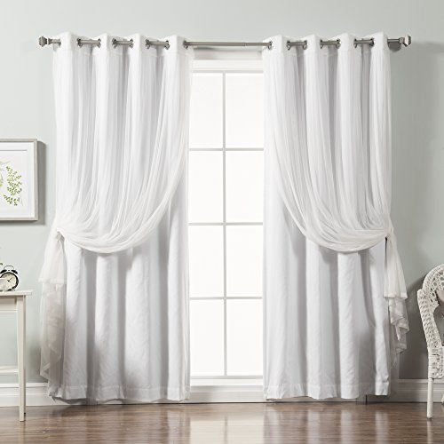 Best Home Fashion Mix & Match Tulle Lace & Solid Cotton Blend Blackout Curtain Set – Stainless Steel Nickel Grommet Top – White – 52