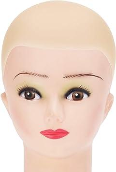 Gorro de Calva de Látex para Adultos Cabeza de Calva de Maquillaje Peluca de Calvo Accesorios de Disfraz Beige, Talla Pequeña: Amazon.es: Juguetes y juegos