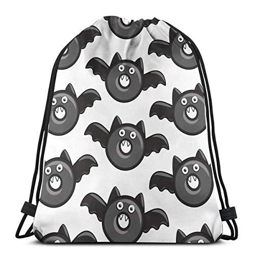 Bat Vampire Halloween Donuts On White Drawstring Bag for Women Drawstring Hiking Backpack Gym Bag for Women 17 X 14 Inch -