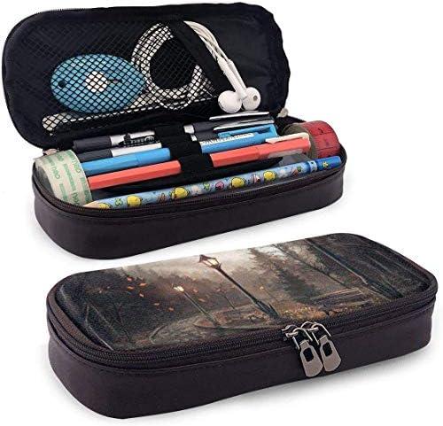 Park Bench Lamp Art Federmäppchen Stifthalter mit Reißverschluss für Mädchen und Jungen - Bleistiftbeutel Schreibwaren Aufbewahrungstasche für das Schulbüro (braun)