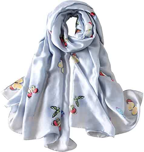 b89ceea13 JIUMAN Womens 100% Mulberry Silk Scarf Long Satin Scarf Fashion Designer  Scarf Lightweight Neck Wear