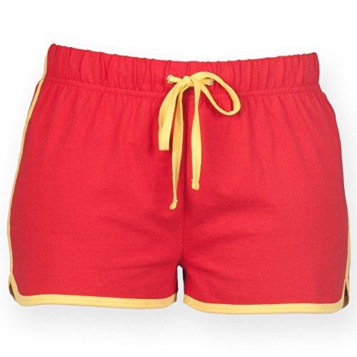 Skinni Fit- Pantalones cortos de deporte/gimnasio para mujer Rojo/amarillo