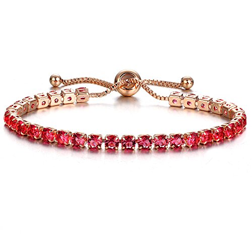 Baoqin Adjustable Chain Bracelet for Women,Cubic Zirconia Rose Gold Gift Bracelet of Luxury Shining Jewelry (Red) ()