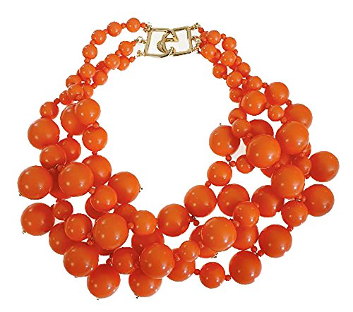 [Faux Coral Choker Necklace Bib Resin Beads Necklace Fashion Costume Jewelry by Kenneth Jay Lane] (Kenneth Jay Lane Coral)