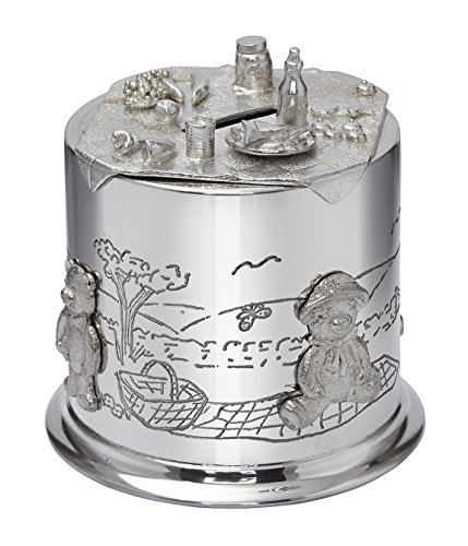 Wentworth Pewter - Teddy Bears Picnic Pewter Money Box, Baby Gift, (Pewter Teddy Bears)