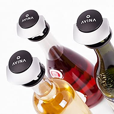 Wine Stoppers - Leak-Proof Wine Saver, Locking Bottle Cap Allows Safe Sideways Storage With Snap On Preserver Cork - Wine Accessories Gift Set of 3