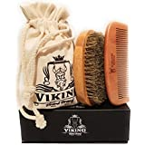 Beard Comb and Beard Brush Set Kit for Men - Wooden Handmade Natural Boar Bristle Brush and Wood Comb for Styling and Shaping for Men by Viking Beard Brand