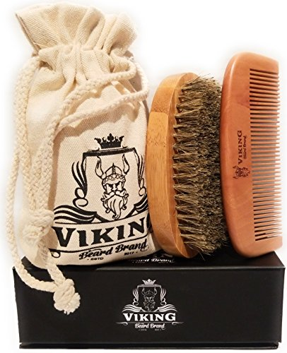 Beard Comb and Beard Brush Set Kit for Men - Wooden Handmade Natural Boar Bristle Brush and Wood Beard Comb for Men by Viking Beard Brand - Ebook