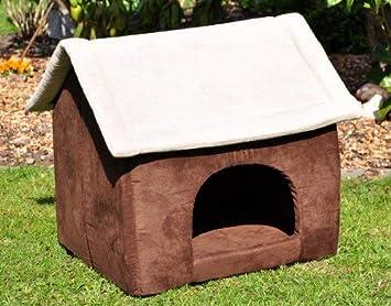 Niche pour chien chat imitation croûte de cuir Marron gris 60 x 56 ... b36dac10d9e9
