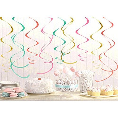 Pastel Confetti Hanging Swirl Decorations (12pc)