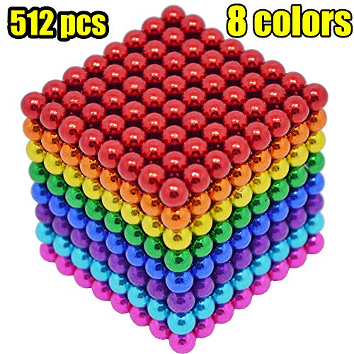 - MENGDUO 512pcs 5mm Magnetic Cube Magnets Sculpture Building Blocks Toys for Intelligence Learning -Office Toy & Stress Relief for Adults (8 Colors)