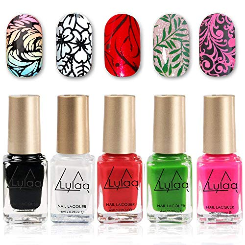 DR.MODE Nail Stamping Polish - 5 Bottles Solid Color Nail Polish, DIY Summer Lasting Pigmented Nail Varnish Lacquer Nail Art Stamp Polish Set (Best Nail Varnish Brand)