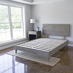 Wood Platform Bed with Headboard | Solid Hardwood - 100% Handmade by Amish Craftsmen | No Box Spring Required Mattress Foundation | Mid Century Modern Bedroom Decor | Queen