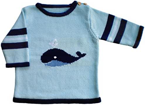 Huggalugs Boys Blue Whale Sweater