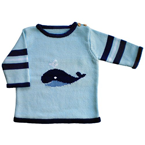 Price comparison product image Huggalugs Boys Blue Whale Sweater 6-12m