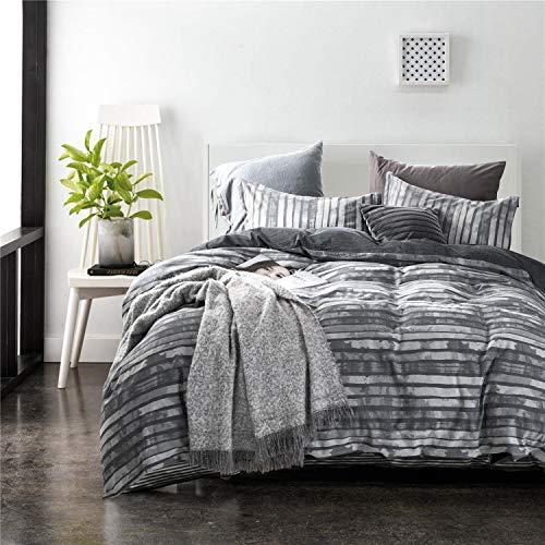 - ECRISDOO Cotton Duvet Cover Set Comforter Set Queen 3 Pieces Bedding Sets Luxury Jacquard Stripe Soft and Comfortable Bed Cover & Pillow Shams